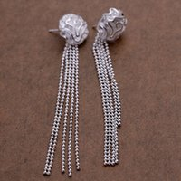 Rose women elegant noble design beautiful fashion silver color party Stud Earring Jewelry factory price E048
