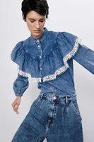 Women's Blouses & Shirts 2021 Spring Summer Lace Zaraing Women Denim Shirt Sheining Vadiming Female Blouse Top Clothes Xdn9268