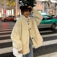 Women's Wool & Blends Kawaii Thick Lamb Coat Women 2021 Autumn Winter Korean Style Loose Warm Plush Stand Collar OutCoat Young Girls Student