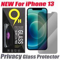 2.5D Privacidad Protector de vidrio templado para iPhone 13 12 Mini 11 PRO XR XS X MAX 6 7 8 Plus Pantalla telefónica Anti-PEEP anti-espía Flim con bolsa de papel Paquete de venta al por menor
