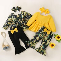 Clothing Sets Baby Girls Clothes Autumn Sunflower Long Sleeves T-Shirt + Bell-Bottom Pants Headband Outfits 3Pcs 3-24 Months