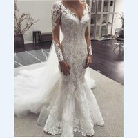 Classic 2022 Mermaid Wedding Dresses With Long Sleeves Floral Lace Applique Sheer Boat Neckline Bridal Dress Women For Bride Court Train