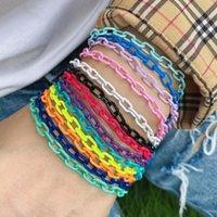 Link, Chain 10PCS, Metal Bohemian Summer Colored Enamel Bracelet For Women Charm Link Cute Girl Jewellery Gift