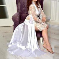 Summer Nightdress Silk Satin Lace Women Sleepwear Lingerie Pajama Kimono Long Robe Gow Sexy Transparent Design Daily