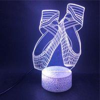Luci notturne Led Led Led 3D acrilico carino scarpe da ballo scarpe da letto illusione lampada per bambini regalo con la base di crack