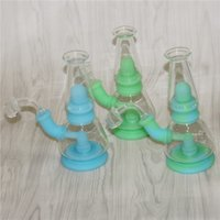 Glow in the dark Hookahs 100% Food Grade Silicon Dab Rigs silicone water bongs with quartz banger nectar collectors