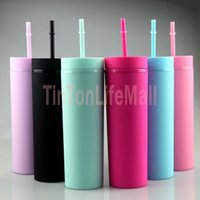 16oz Acrylic Skinny Tumblers Matte Colors Double Wall 500ml Tumbler Coffee Drinking Plastic Sippy Cup With Lid Straws FY4409