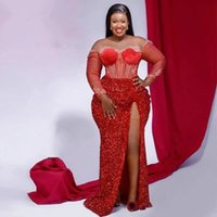 2021 Aso Ebi Arabic Style Mermaid Prom Dresses Red Sequins Long Sleeves Front Split Lace Appliques Plus Size Formal Evening Occasion Gowns