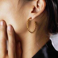 Hoop & Huggie Baoyan Vintage Gold Earrings Loop Cicle Twisted Stainless Steel Minimalist Golden Titanium For Women
