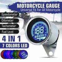 4 en 1 Motocicleta Digital Odómetro Velocímetro Tacómetro RPM Calibrador de nivel de combustible MPH KM / H 7 COLORES Universal - Chrome Black