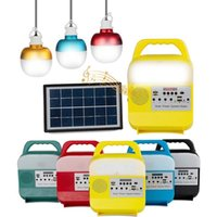 Portable Lanterns Generator Solar Outdoor Camping Light Bulb With Radio FM MP3 Music Bluetooth Power Bank Panel LED Lighting