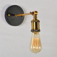 Levou lâmpadas de parede vintage Sconces shadeless E27 filamento luz industrial metal parede única parede e27 titular do bulbo AC110-240V em estoque