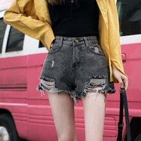 Jeans Black Black Perforated Denim Shorts Estate da donna Coreano a vita alta aderente sottile maglia rossa Gamba larga