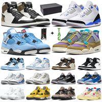 أحذية كرة السلة للرجال والنساء 4s 1s جامعة أزرق أسود أسمنت UNC رمادي داكن ضباب عالي OG 1 أحذية رياضية للرجال والنساء
