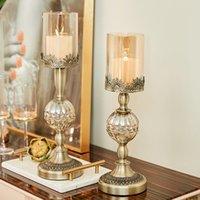 Kerzenhalter 2 stück Modern Legierungshalter Nordic Luxus Kerzenständer Ornament Wohnkultur Romantisches Kerzenlicht Abendessen Dekorative Candelabras