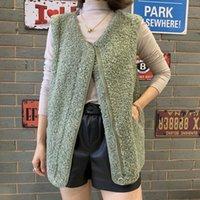 coats Women Autumn Winter Vintage Lamb Wool Waistcoat Sleeveless Hooded Hoodies Faux Vest Hood Outwear Fur Coat
