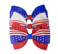 Party Favor Hair Accessories 4th of July Flag Hairclips for Girls Clips Red Royal White Hairbows Grosgrain Ribbon Stars Stripe Barrettes DD297