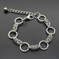 Link, Chain Men Bracelet Stainless Steel Big Round Braclet On Hand Charms Gifts Male Hip Hop Jewelry Wholesale
