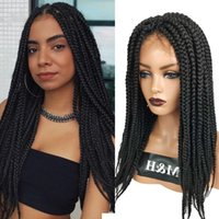 Synthetic Wigs 26 Inch Braided Straight Box Braids Cosplay Wig Twist Hair For Afro Black Women Daily Wear