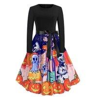 Casual Dresses Women Vintage Halloween Costumes Black Patchwork Long Sleeve Pumpkin Print Party Autumn Winter Midi Vestido