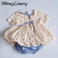 Summer Children Color Polka Dot Camicia e pantaloncini Set Gonna Gonna Girl Bow Due set Abiti Abiti 210702