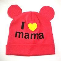 الكرتون القطن الاطفال قبعة متعددة الصلبة اللون الحياكة الحيوانات تصميم الأذن أنا أحب ماما إلكتروني القبعات الشتاء الطفل ديكور كاب 4 6xw l2