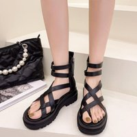 Sandals 2021 Fashion Cross Tied Roman Casual Shoes Solid Colors Summer Simplicity Thick Bottom For Women