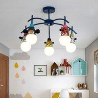 أضواء السقف غرفة الأطفال مصباح الكرتون الإبداعية الحيوان رئيس القرد النمر كيد نوم شخصية مصابيح رياض الأطفال LB01083