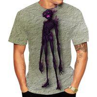 Stampato tridimensionale teschio scheletro modello da uomo t-shirt 3D manica corta a maniche corte partito top via girocollo girocollo estate minecraft
