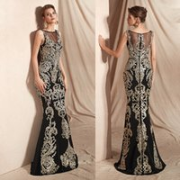 Long Formal Evening Dress for Women, Sequins Beaded Floral Lace Sleeveless Fit and Flare Prom Gown with Zipper