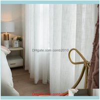 Textiles Home & Garden White Curtain Linen For Living Room Bedroom Kitchen Voile Tulle Sheer Curtains Window Treatments Drop Delivery 2021 4