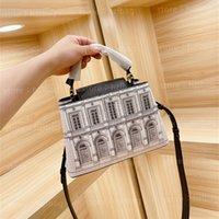 Capucines bb bolsa de asas arquitetida yeso piedra clásico estilo negro blanco italiano edificaciones mujeres diseñador bolsos