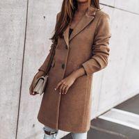 Women's Wool & Blends 80%Long Sleeve Two Buttons Women Coat Autumn Winter Flap Pockets Lapel Long Warm Woolen Ladies Clothing
