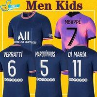 MBappe Verratti Kean 축구 유니폼 2021 2022 디 Maria Kimpembe Marquinhos Icardi Pre-Match 축구 셔츠 21 22 Men + Kids Kit