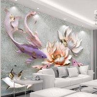 Bacal 3D wallpaper Embossed lotus fish retro fresh living room sofa TV wall photo home decor 3d wall mural wallpaper huda beauty