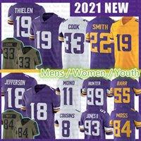 "18 Justin Jefferson 19 Adam Thielen Jersey Dalvin Cook Harrison Smith Danielle Hunter 8 Kirk Cousins Futebol Minnesota ""Vikings"" Kellen Mond Patrick Peterson"