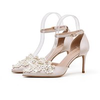 Dress Shoes 2021 Transparent Sandals Stiletto Female Summer Baotou Girl Fresh Single Rhinestone Pointed Toe Wedding