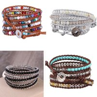 Kelitch Stone Bracelets Hombre Handmade Wicca Sublimation Blanks Turkey 5 Wrap Leather Pearl Bracelet Beaded, Strands