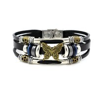 Atacado-fresco punk holograma pulseira masculina com encantos vintage bronze de couro genuíno pulseira masculina para mulheres homens pulseira jóias