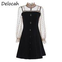 Delocah 여성 여름 패션 디자이너 파티 짧은 드레스 랜턴 슬리브 구슬 검은 인쇄 숙녀 A 라인 드레스 Vestidos 2021 캐주얼