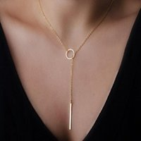 Pendant Necklaces Fashion Simple Bar Drop Necklace Lariat Y Long Stainless Steel Silvery Gold For Women Boho Jewelry Collares