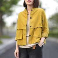 Women's Jackets Winter Autumn Women Overcoats Female Cute Solid Color Clothing Special Design Tooling Pocket Tops Harajuku Corduroy Jacket