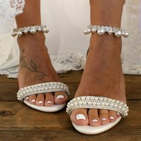 Sandals Summer Lace Flower High-heeled Thick-heeled Large Size Bridal Wedding Shoes White Mid-heel Pearl Banquet Dress Female