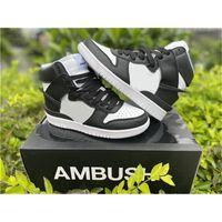 Ambush x Dunk Yüksek Beyaz / Siyah-Ladin Aura CU7544-001 Nakekin Basketbol Koşu Ayakkabıları Otantik Açık Moda