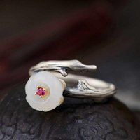 Cluster Rings FNJ 925 Silver Ring For Women Jewelry 100% Original Pure S925 Sterling Natural Hetian Jade Flower Zircon