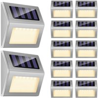 12 LED مصابيح سطح السفينة الشمسية في الهواء الطلق الإضاءة الزخرفية أضواء الجدار الدافئة أبيض السيارات على / قبالة الفولاذ المقاوم للصدأ للفناء الخلفي حديدي بركة درج مانعة لتسرب الماء