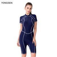 Abiti da un pezzo Yongsen Donne Costumi da bagno con maniche Body Professional Piece Piece Costume da bagno Quinto Pantaloni Plus Size Swimming Rush Guard