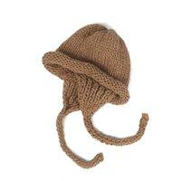 Trapper 모자 겨울 손으로 만든 chunky 원사 니트 모자 학생 귀여운 압연 모자 따뜻한 귀걸이 북동쪽