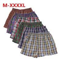 Shanboer 4 pçs / lote mens underwear boxers solto shorts calcinha masculina de algodão masculino grande clássico seta calça plus tamanho 4xl cuecas