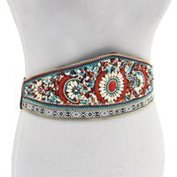 بوهيميا سلسلة الخصر العرقية ل سليم الملونة مرونة الشريط الشريط بو الجلود مشد حزام النساء سلاسل الجسم الهند المجوهرات